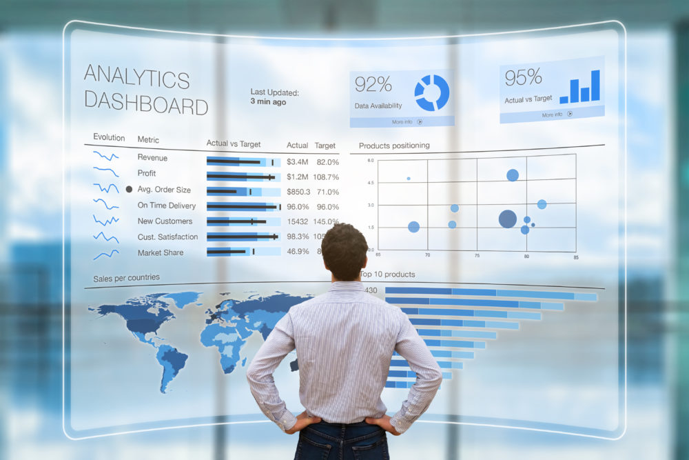 Businessman analyzing business analytics or intelligence dashboard