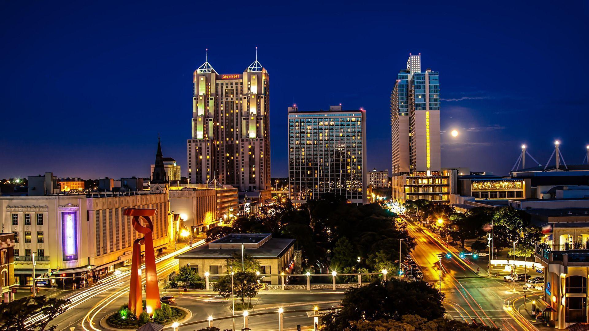 San Antonio skyline view at night,