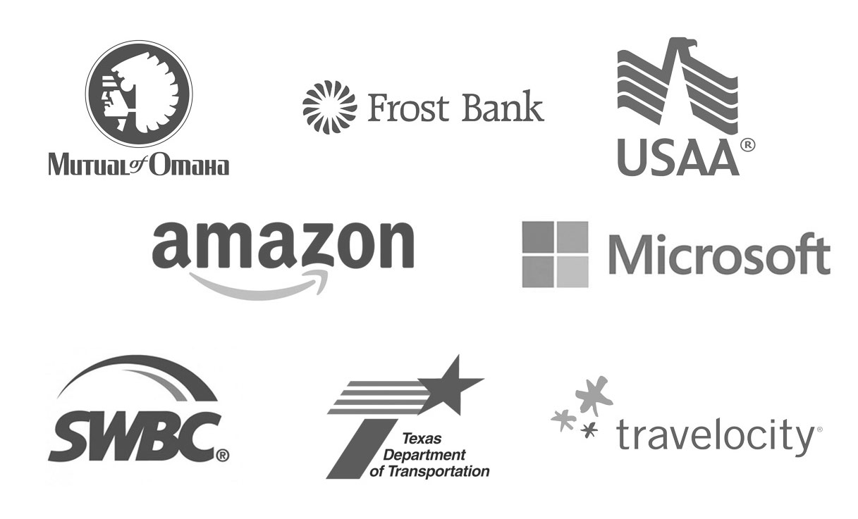 Enterprise logos: Frost Bank, Mutual of Omaha, USAA, Amazon, Microsoft, SWBC, TXDOT, Travelocity