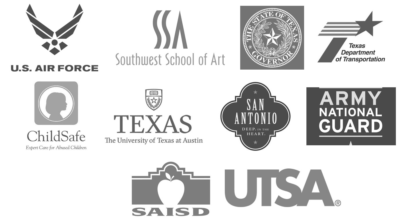Government and Non-profit Organization Logos: Air Force, Southwest School of Art, Texas Governor's Office, TXDOT, ChildSafe, University of Texas, City of San Antonio, Army National Guard, SAISD, UTSA