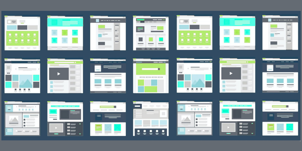 Grid of abstract page mockups showing a variety of navigation patterns and layouts