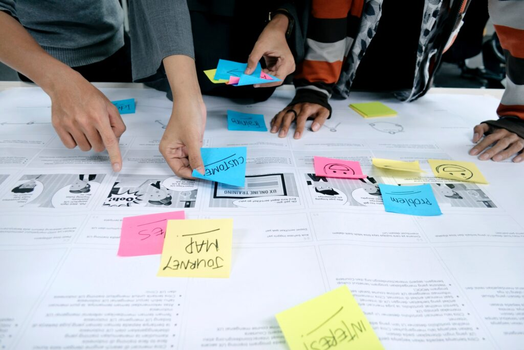 Team brainstorming with sticky notes