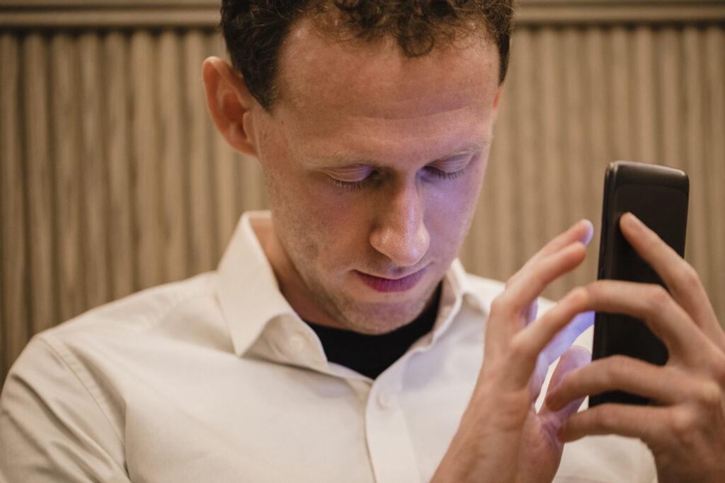 Man Using Visually Impaired App