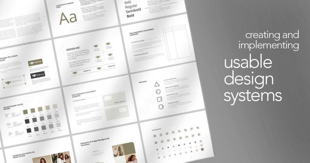 Abstract image of elements of a design system - creating & implementing a usable design system