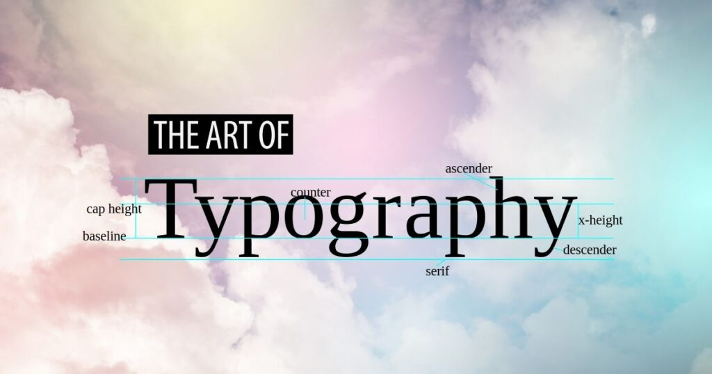 Abstract Clouds with the large word Typography along with callouts for different part of letterforms: cap height, baseline, counter, ascender, descender, serif, and x-height