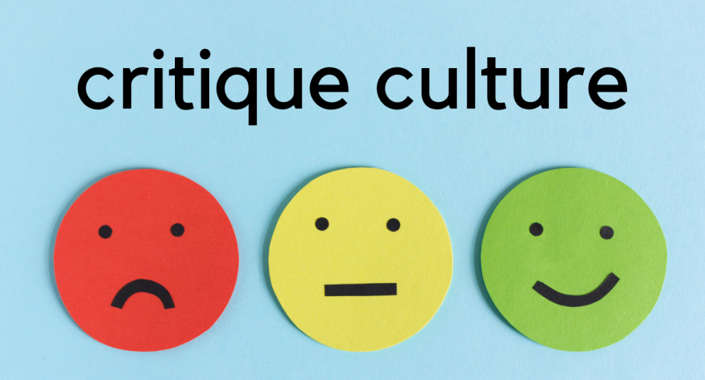 Three emojis - red frown, yellow straight line mouth, green smiley - Critique Culture